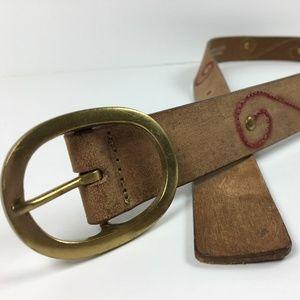 Linea Pelle Sz L Brown Leather Scroll Stud Belt